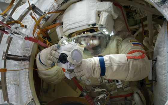 Photo free station, astronaut, space suit