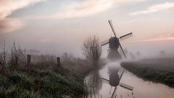 Фото бесплатно трава, туман, река