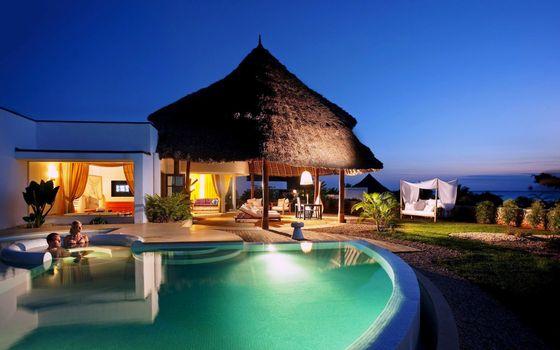 Фото бесплатно тропики, вечер, бассейн