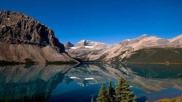 Бесплатные фото вода,горы,деревья,снег,небо,голубое,природа