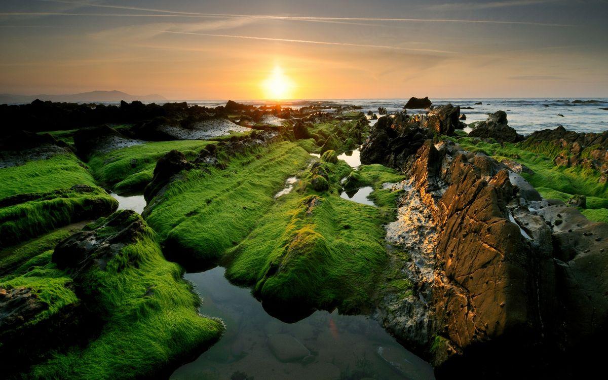 Фото бесплатно закат, солнце, лучи, небо, горизонт, мох, камни, река, волны, море, океан, вода, природа, пейзажи, пейзажи