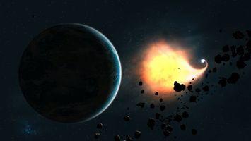 Бесплатные фото вспышка,планета,пояс астероидов,звезды,свет