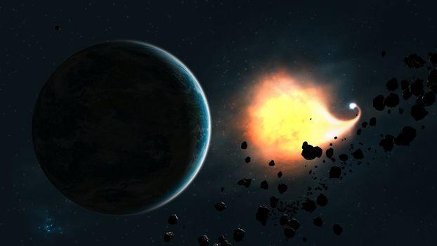 Photo free flash, planet, asteroid belt