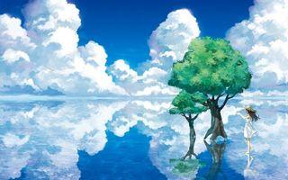 Фото бесплатно вода, пейзаж, озеро, деревья, арт, девочка, отражение