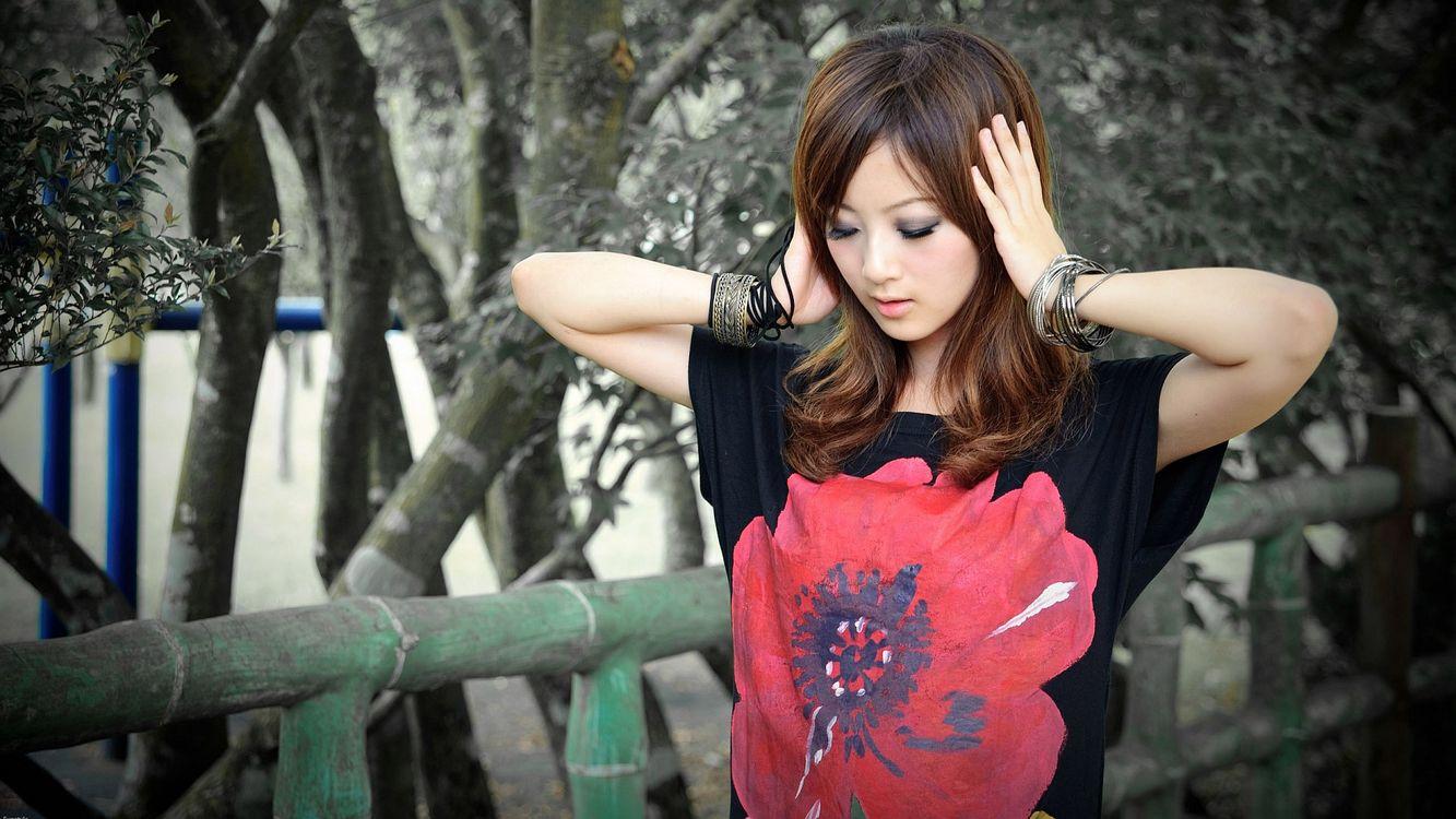 Фото бесплатно азиатка, глаза, макияж - на рабочий стол