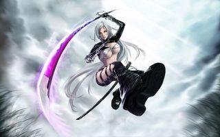 Бесплатные фото девушка с катаной в прыжке,катана,небо,самурай,аниме
