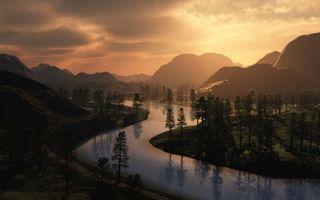 Бесплатные фото долина,река,деревья,горы,небо,закат,природа