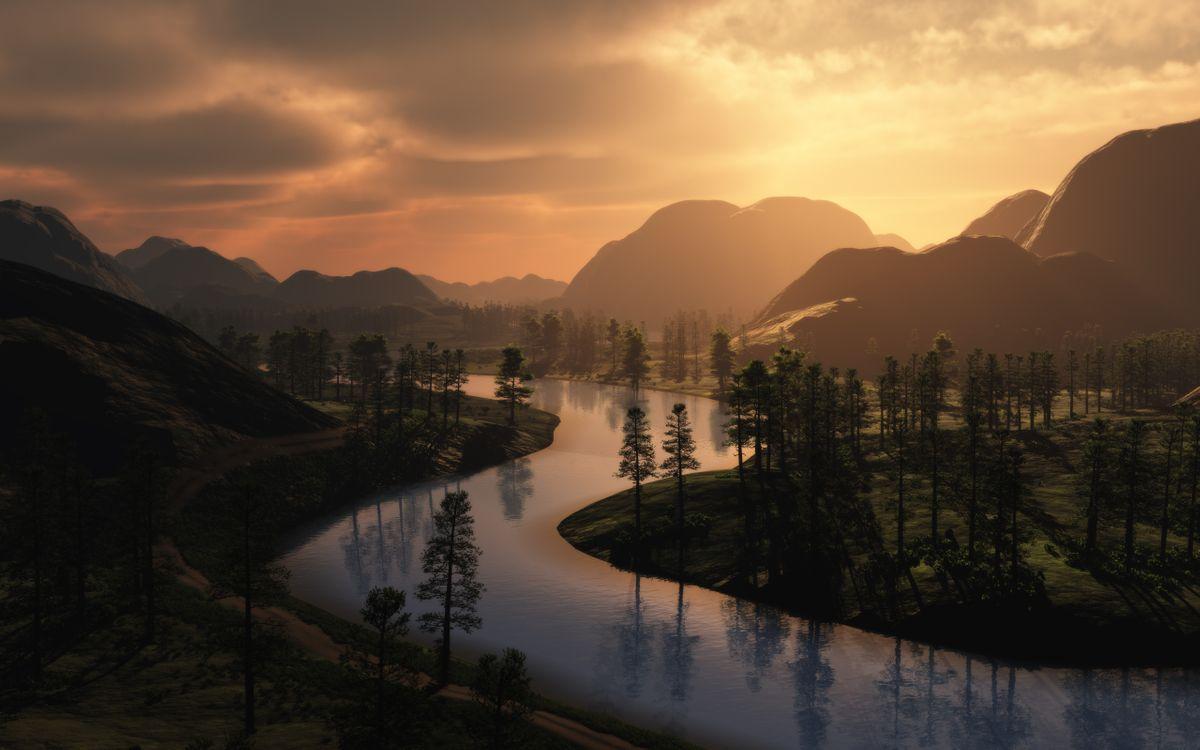 Фото бесплатно долина, река, деревья - на рабочий стол