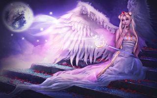 Бесплатные фото фея,девушка,крылья,посох,луна,планета,платье