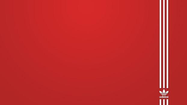 Бесплатные фото фон,красный,надпись,логотип,адидас,полоски,белые,три,абстракции