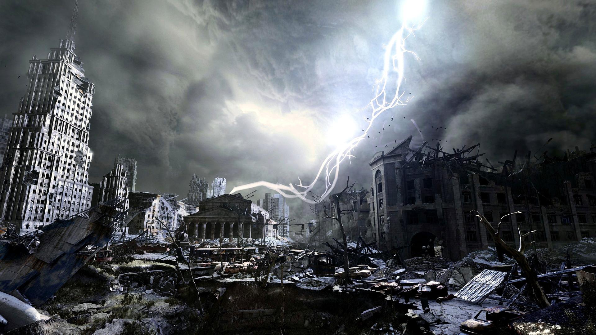 город, развалины, здания