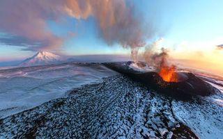 Фото бесплатно извержение вулкана, снег, зима, природа