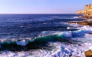 Заставки море,океан,вода,волны,горизонт,скалы,горы