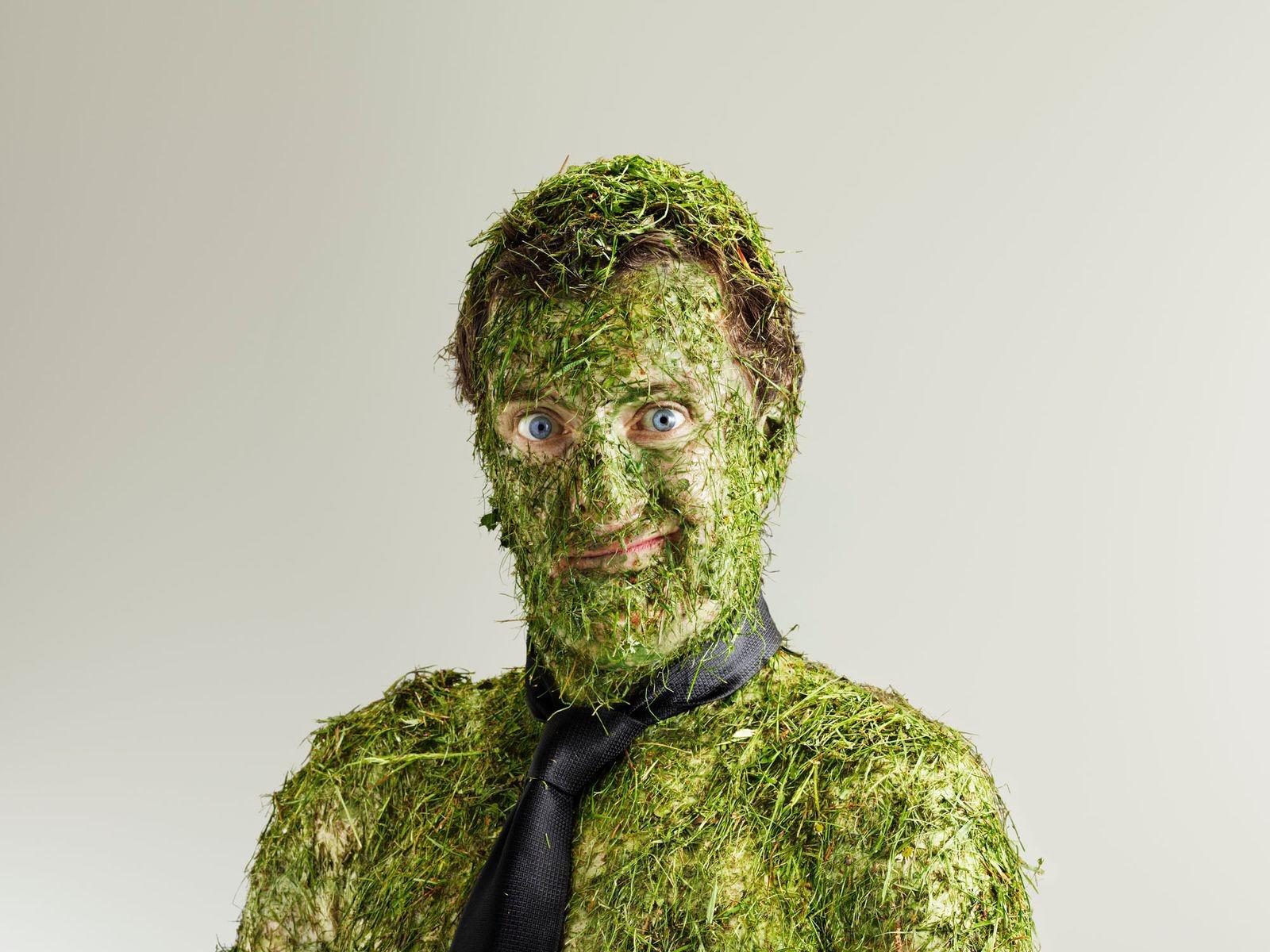 мужик, трава, работа