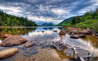 Бесплатные фото озёрные камни,коряга,лес,тучи,горы,озеро,природа