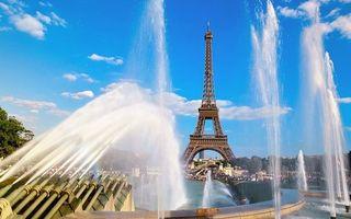 Бесплатные фото париж, эйфелева, башня, фонтаны, вода, струи, город