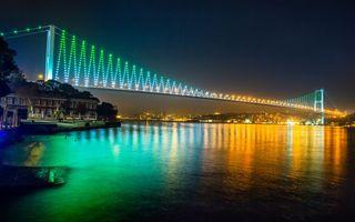 Фото бесплатно река, мост, вечер, огни, дома, отражение, город
