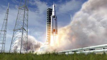 Заставки шаттл, спутник, ракета, запуск, космодром, сша, америка, лето, трава, трубы, дым, огонь