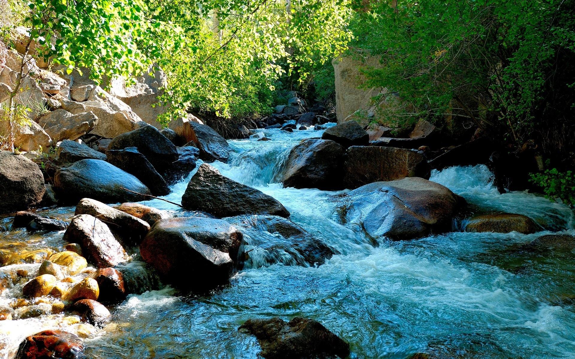 Река текущая по камням загрузить