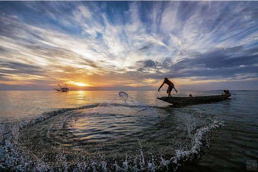 Бесплатные фото Таиланд,Восход,море,сеть,рыбак,лодка,пейзаж
