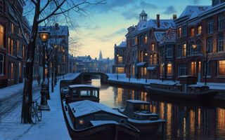 Бесплатные фото lights,winter twilight,netherlands,eugeny lushpin,painting,amsterdam,holland