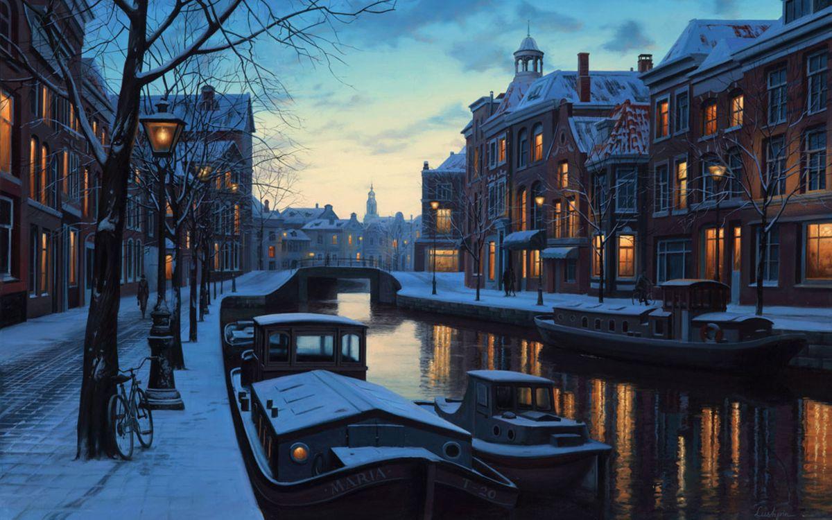Фото бесплатно lights, winter twilight, netherlands, eugeny lushpin, painting, amsterdam, holland, evening, boats, разное