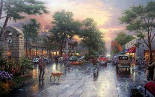 Фото бесплатно kinkade, avenue, carmel sunset on ocean avenue, city, thomas kinkade, houses, town, painting, cars