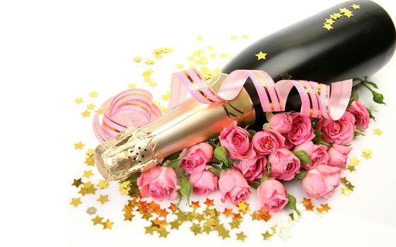 Бесплатные фото звёздочки,бутылка,розы,шампанское
