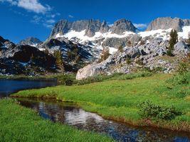 Бесплатные фото ручей,река,горы,холмы,снег,трава,пейзажи