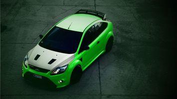 Обои ford, автомобиль, колеса, диски, шины, бампер, фары, крыша, цвет, салатовый, асфальт, машины