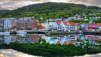 Фото бесплатно городок, на побережье, дома