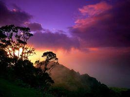 Заставки горы, деревья, небо, закат, солнце, облака, природа