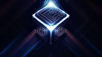 Заставки куб,квадрат,стороны,линии,свет,лучи,фон