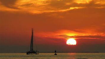 Фото бесплатно небо, море, яхта
