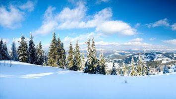 Заставки небо, облака, зима, снег, мороз, холод, елки, горы, высота, природа