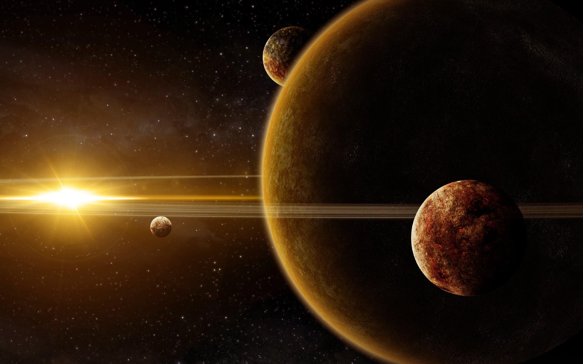 планета гигант с кольцами, спутники, яркая звезда