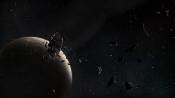 Фото бесплатно планета, камни, астероиды, пояс, спутник, звезды, космос