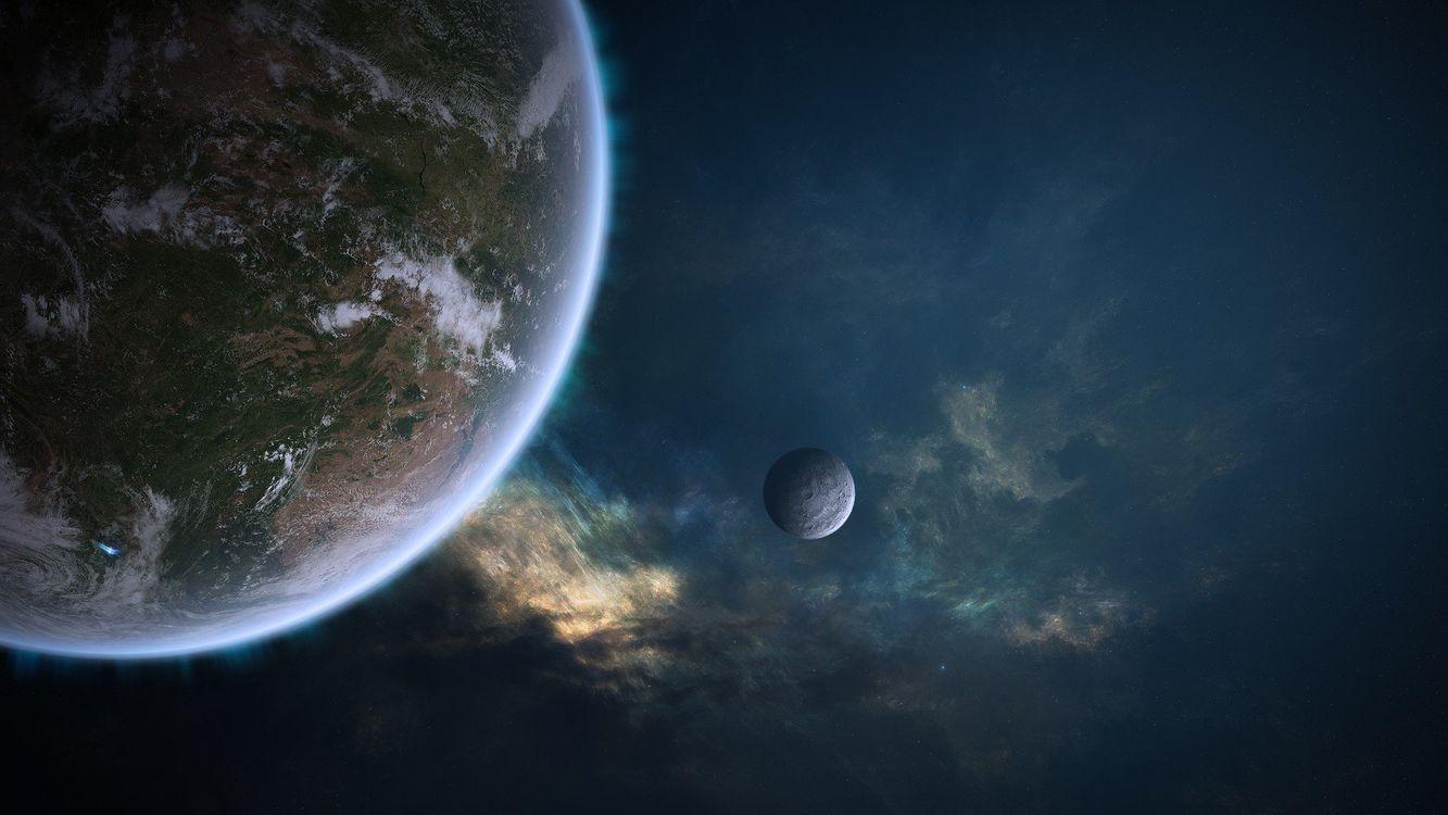 Фото бесплатно планеты, зеиля, спутник - на рабочий стол