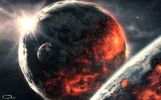 Фото бесплатно планеты, спутники, звезды, вулкан, жара, огонь, лава, солнце, тучи, облака, космос