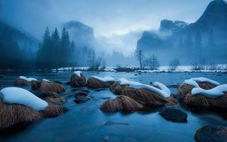 Бесплатные фото река,озеро,вода,горы,туман,деревья,снег