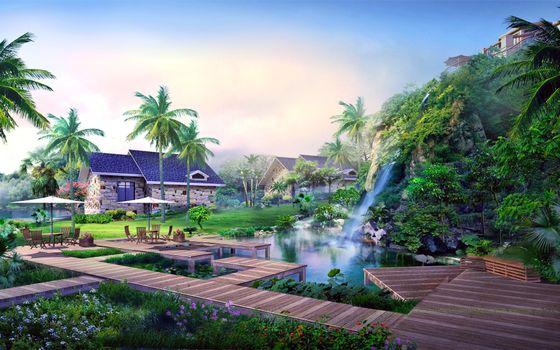 Бесплатные фото сад,водопад,пальмы,пейзажи