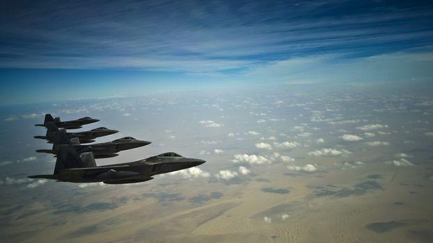 Стая F-22 раптор · бесплатное фото