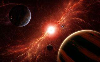 Обои вселенная, планеты, яркое солнце, космос