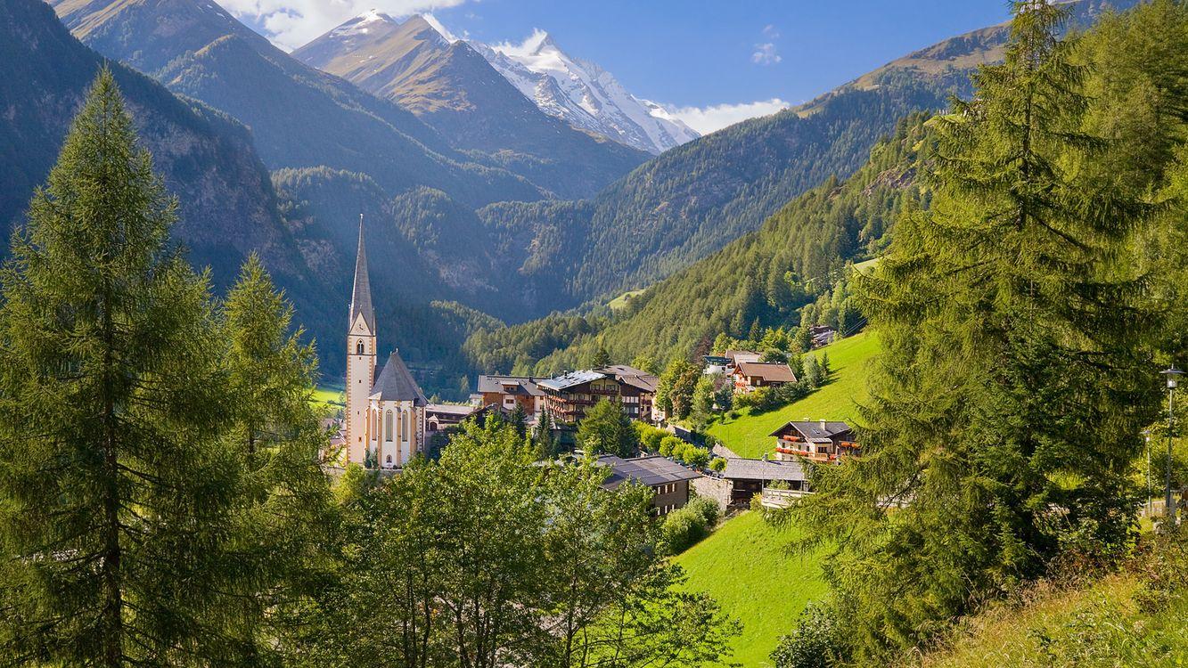 Фото бесплатно замок, дома, деревья, горы, трава, небо, пейзажи, пейзажи - скачать на рабочий стол