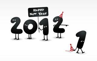 Бесплатные фото 2012, с новым годом, цифры, глаза. шапочки, колпаки, новый год