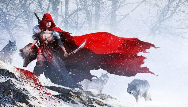 Заставки арт, снег, красная шапочка