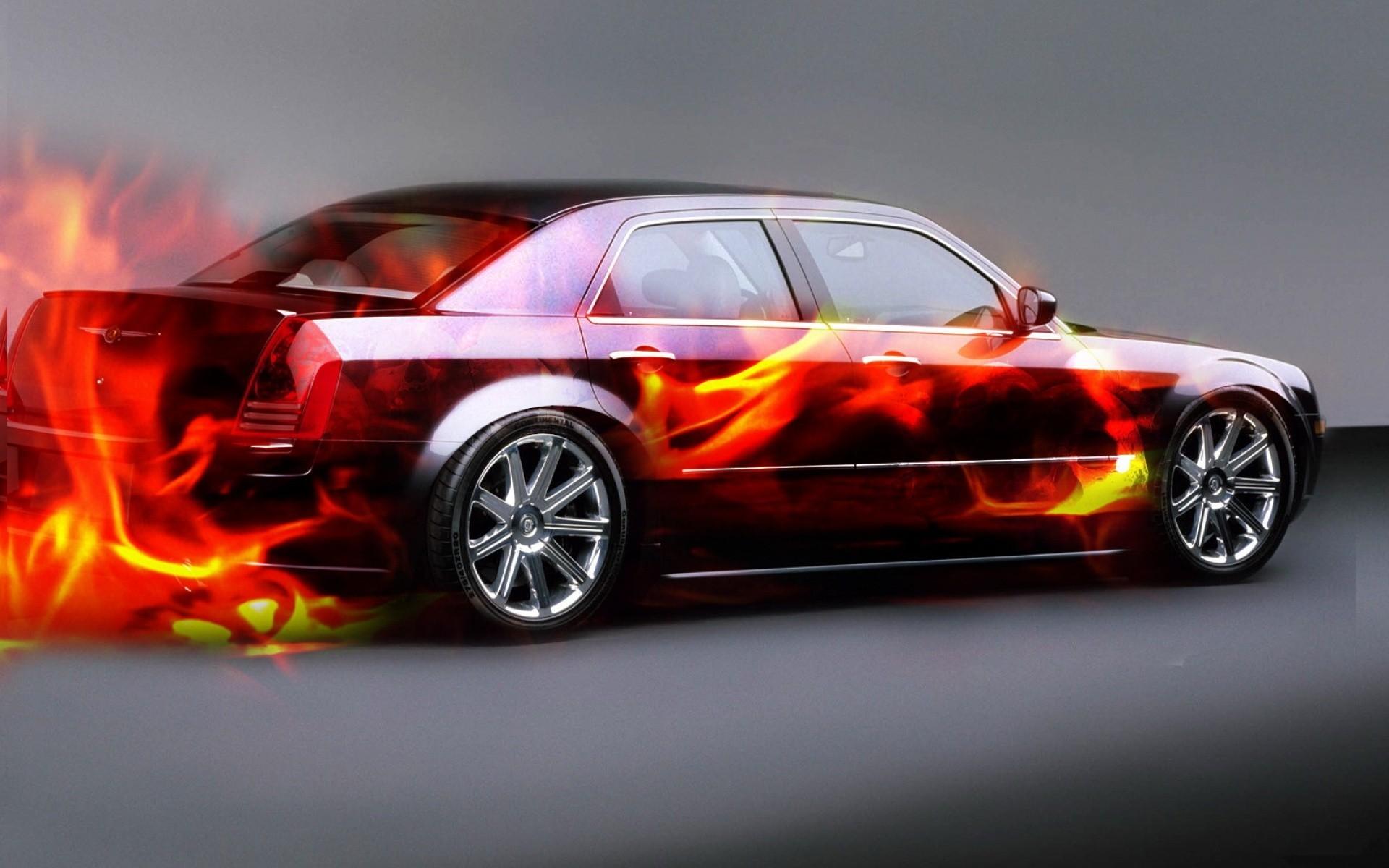 Обои chrysler, огненный, седан, темный