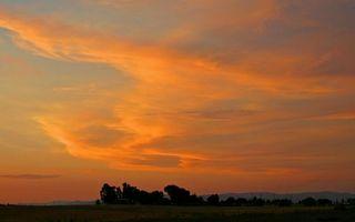 Бесплатные фото деревья,поле,горы,небо,облака,закат,природа