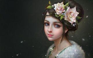 Бесплатные фото девушка,волосы,цветы,глаза,воротник,мех,рендеринг
