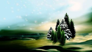 Фото бесплатно елки, зеленые елки, заснеженные елки